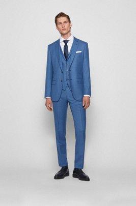 Three-piece slim-fit suit in virgin-wool serge, Blue