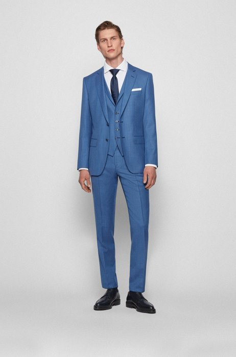 Driedelig slim-fit pak in een serge van scheerwol, Blauw