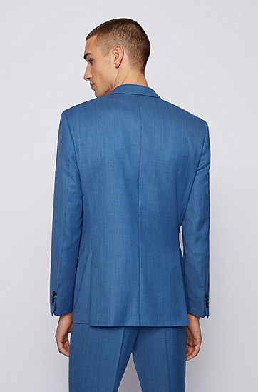 微图案初剪羊毛哔叽面料修身西装,  428_Medium Blue