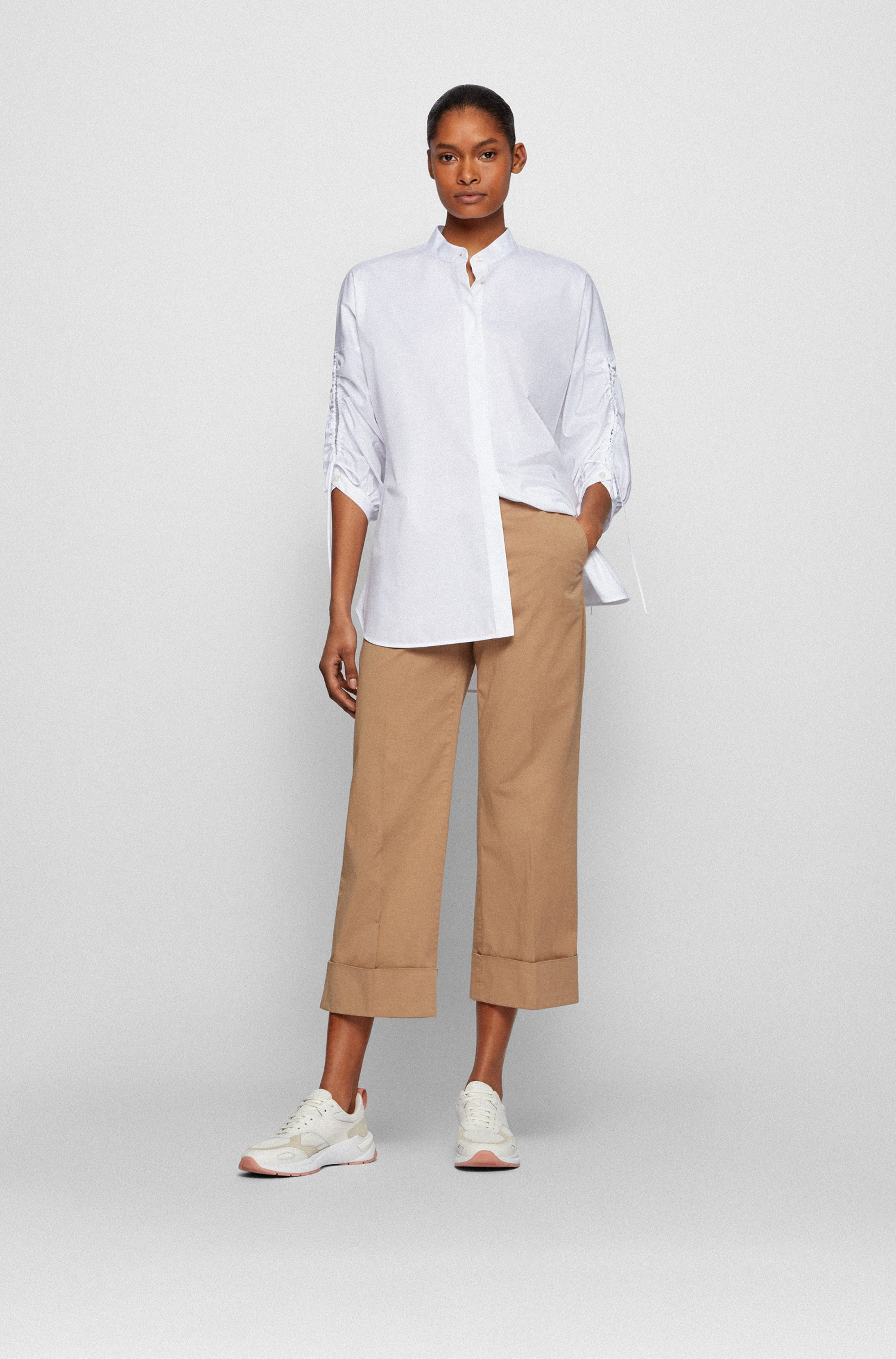Wide-leg regular-fit chinos in stretch organic cotton