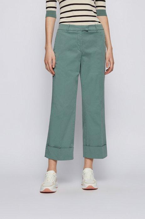 Wide-leg regular-fit chinos in stretch organic cotton, Light Blue