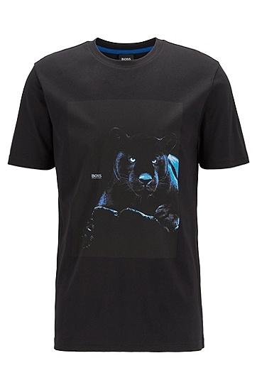 夜光印花棉质 T 恤,  001_Black