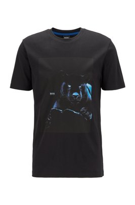 Cotton T-shirt with glow-in-the-dark print, Black