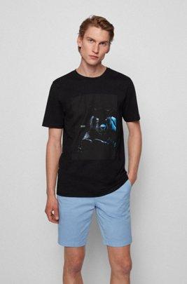 T-Shirt aus Baumwolle mit im Dunkeln leuchtendem Print, Schwarz