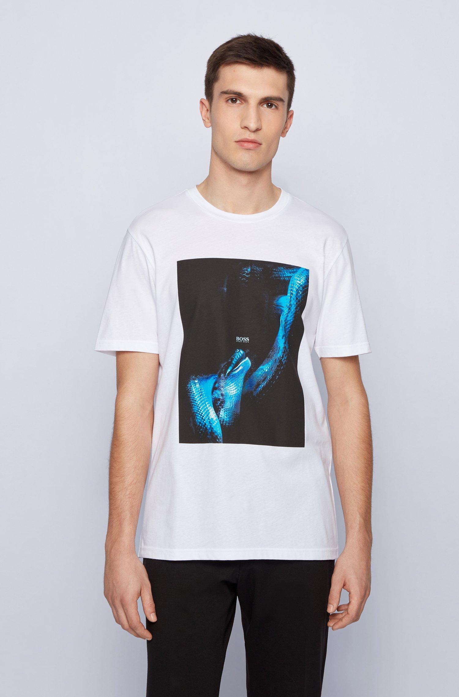 T-Shirt aus Baumwolle mit im Dunkeln leuchtendem Print, Weiß