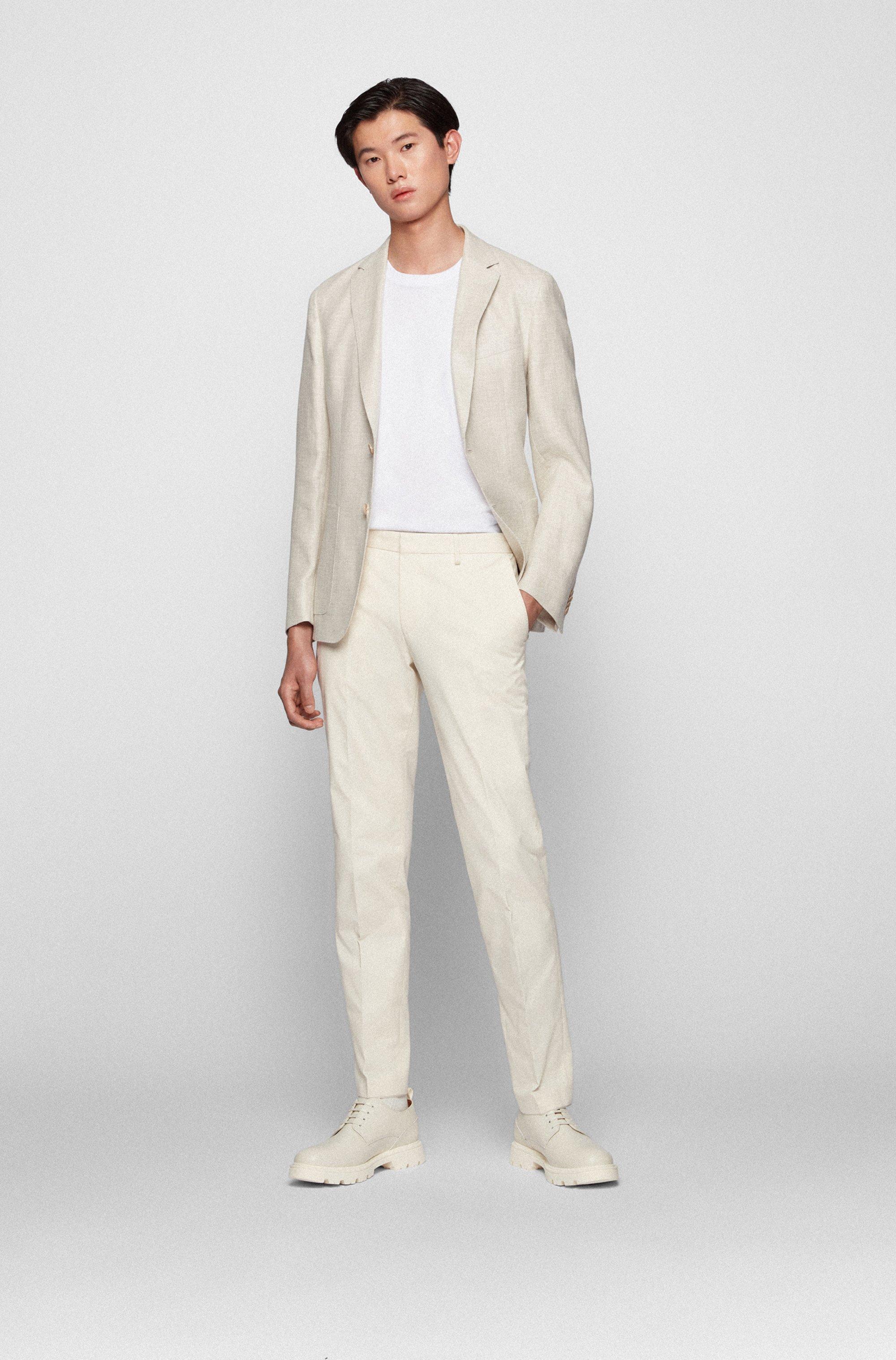 Slim-fit jacket in patterned hemp and wool