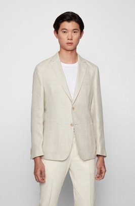 Slim-fit jacket in patterned hemp and wool, White