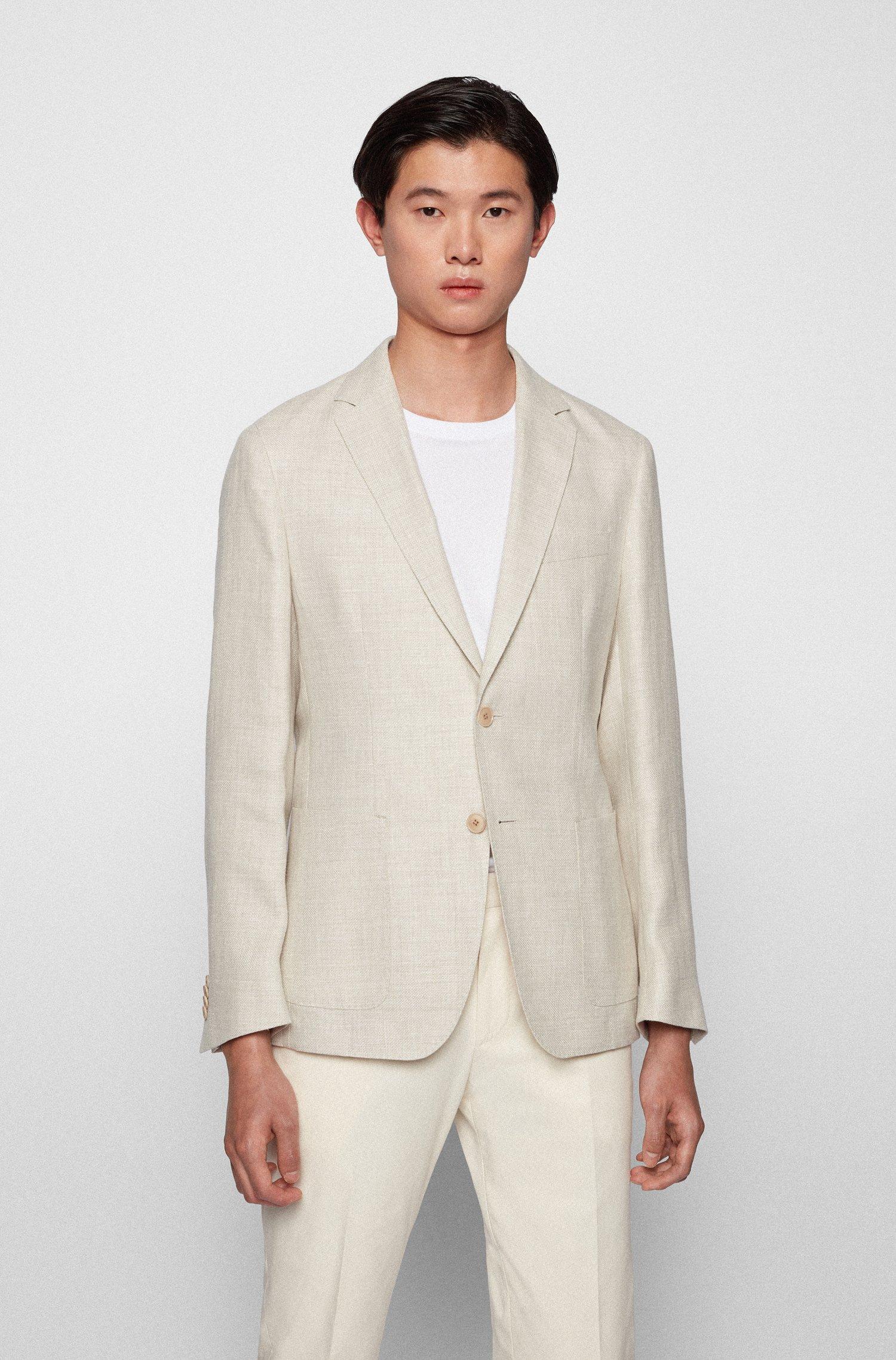 Gemustertes Slim-Fit Sakko aus Hanf mit Wolle, Weiß