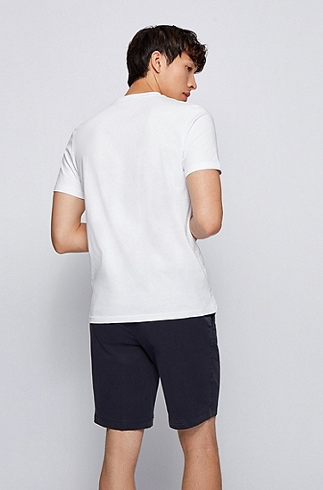 图案徽标装饰棉质圆领 T 恤,  100_White