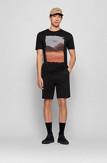 皮马棉照片印花圆领 T 恤,  002_Black