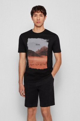 Crew-neck T-shirt in Pima cotton with photographic print, Black