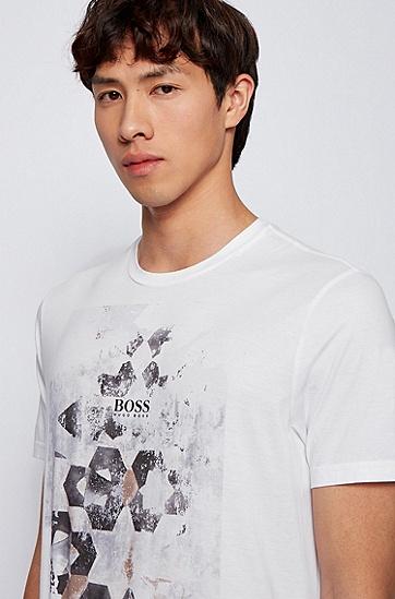 皮马棉照片印花圆领 T 恤,  100_White