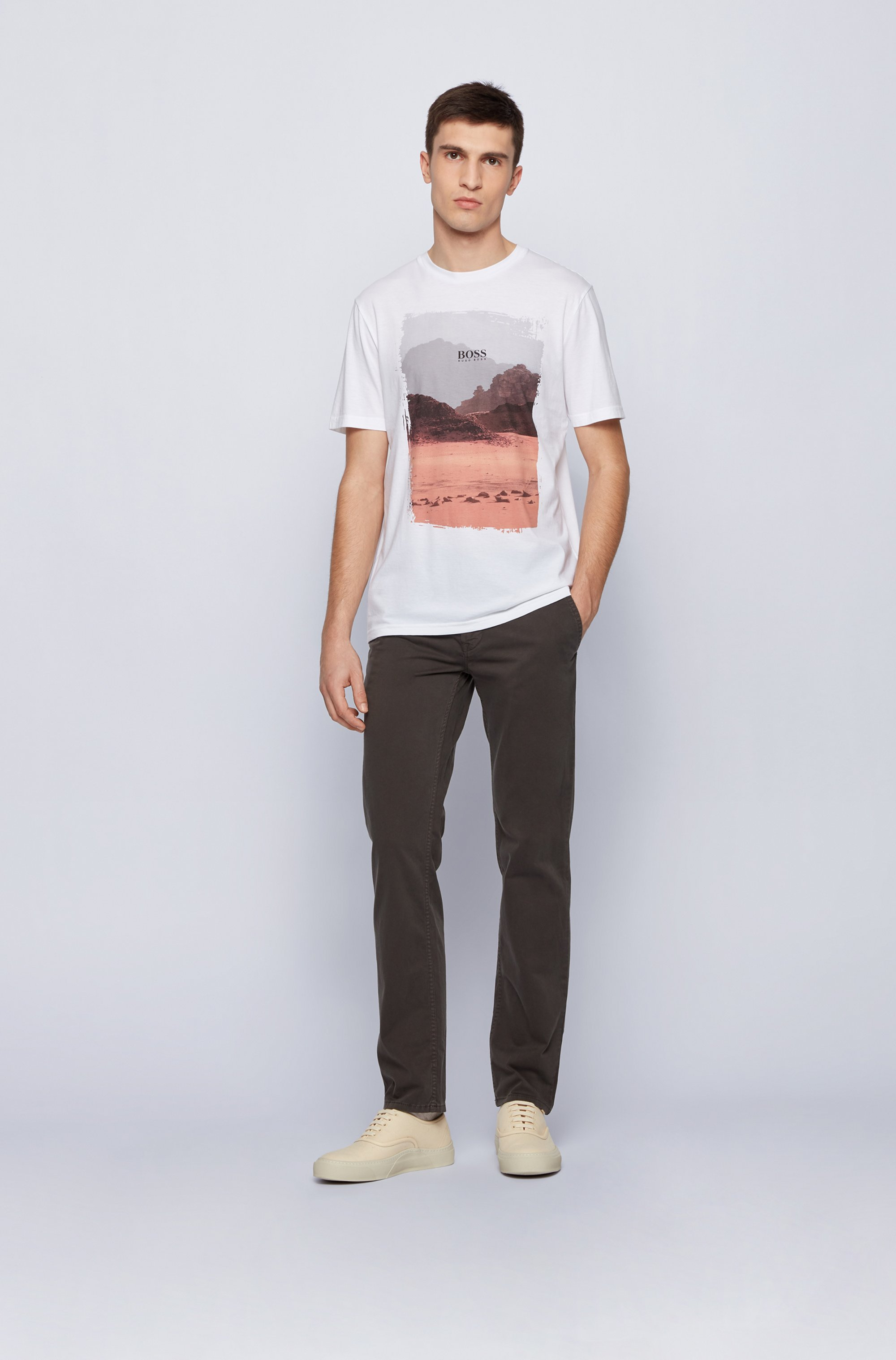 Crew-neck T-shirt in Pima cotton with photographic print