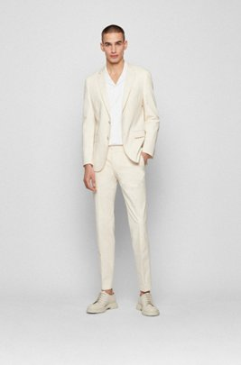 Slim-fit suit in organic cotton with stretch, White