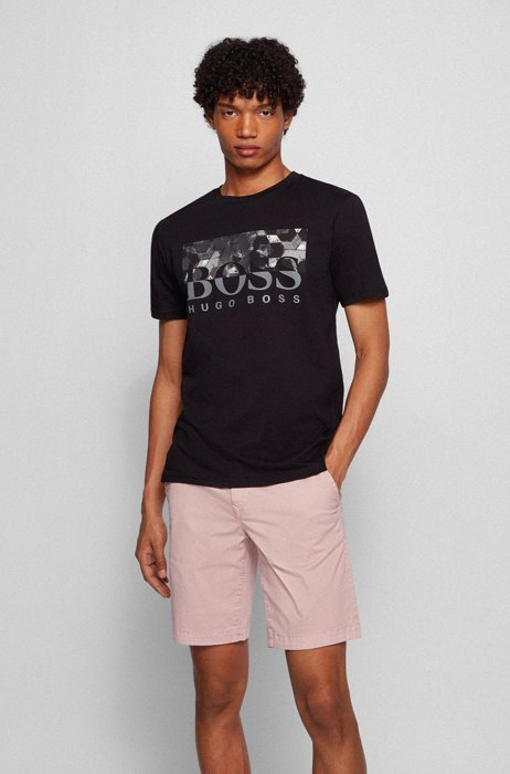 T-shirt regular fit in jersey di cotone con logo, Nero