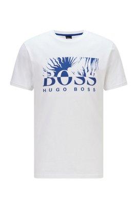 T-shirt Regular Fit en jersey de coton avec logo artistique, Blanc