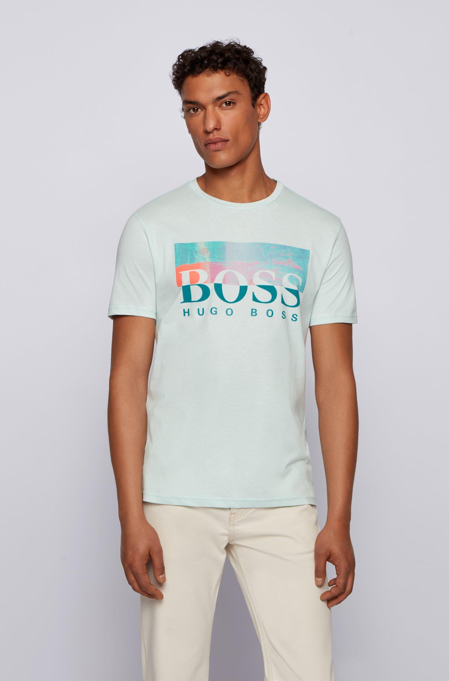 T-shirt Regular Fit en jersey de coton avec logo artistique, Chaux