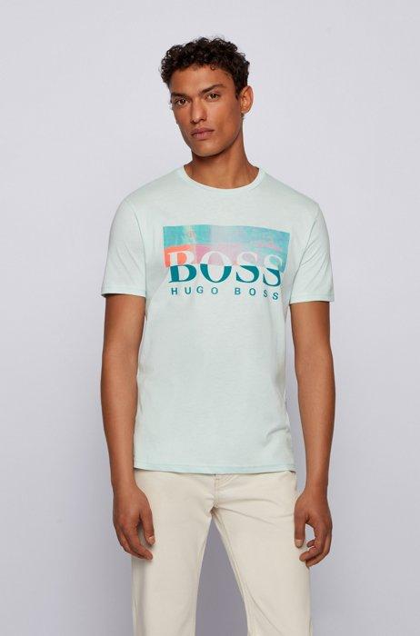 Regular-Fit T-Shirt aus Baumwoll-Jersey mit Logo-Grafik, Hellgrün