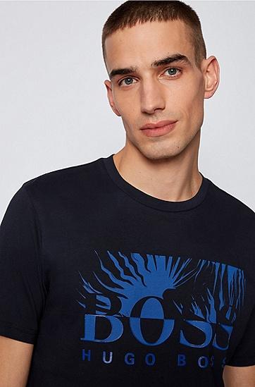 徽标艺术图案装饰棉质平纹针织常规版型 T 恤,  402_Dark Blue