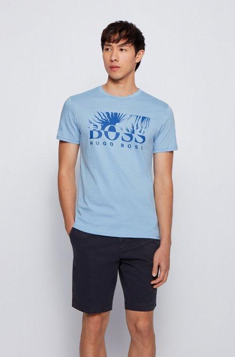 Regular-Fit T-Shirt aus Baumwoll-Jersey mit Logo-Grafik, Hellblau