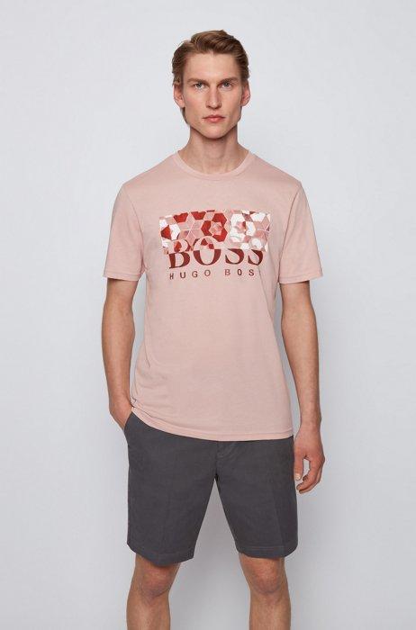 Regular-fit T-shirt in cotton jersey with logo artwork, light pink