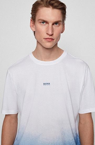 渐变印花皮马棉徽标 T 恤,  100_White