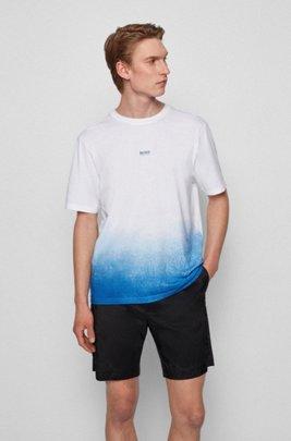 T-Shirt aus Pima-Baumwolle mit Logo und Dégradé-Print, Weiß