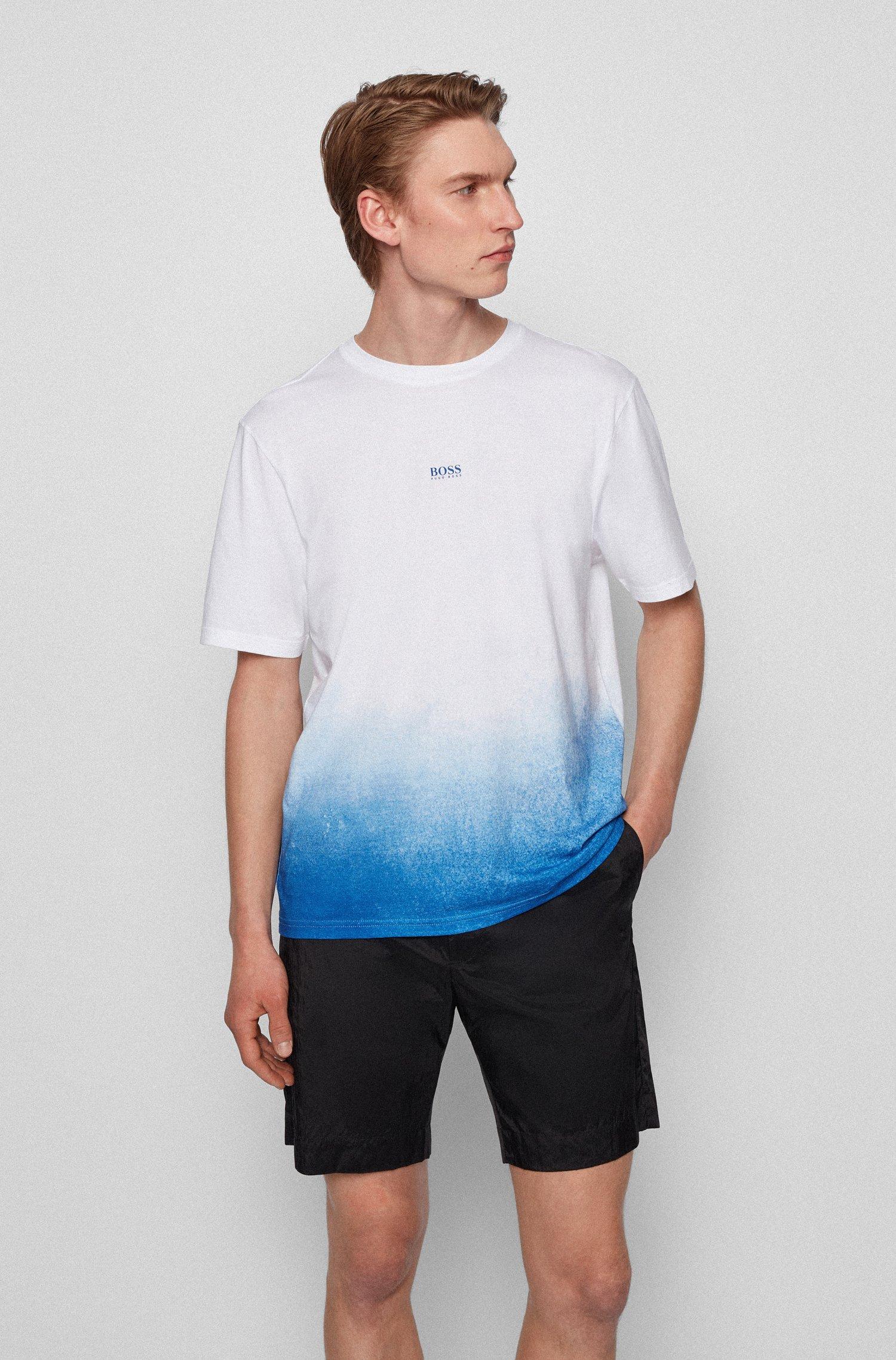 T-shirt en coton Pima à logo et imprimé en dégradé, Blanc