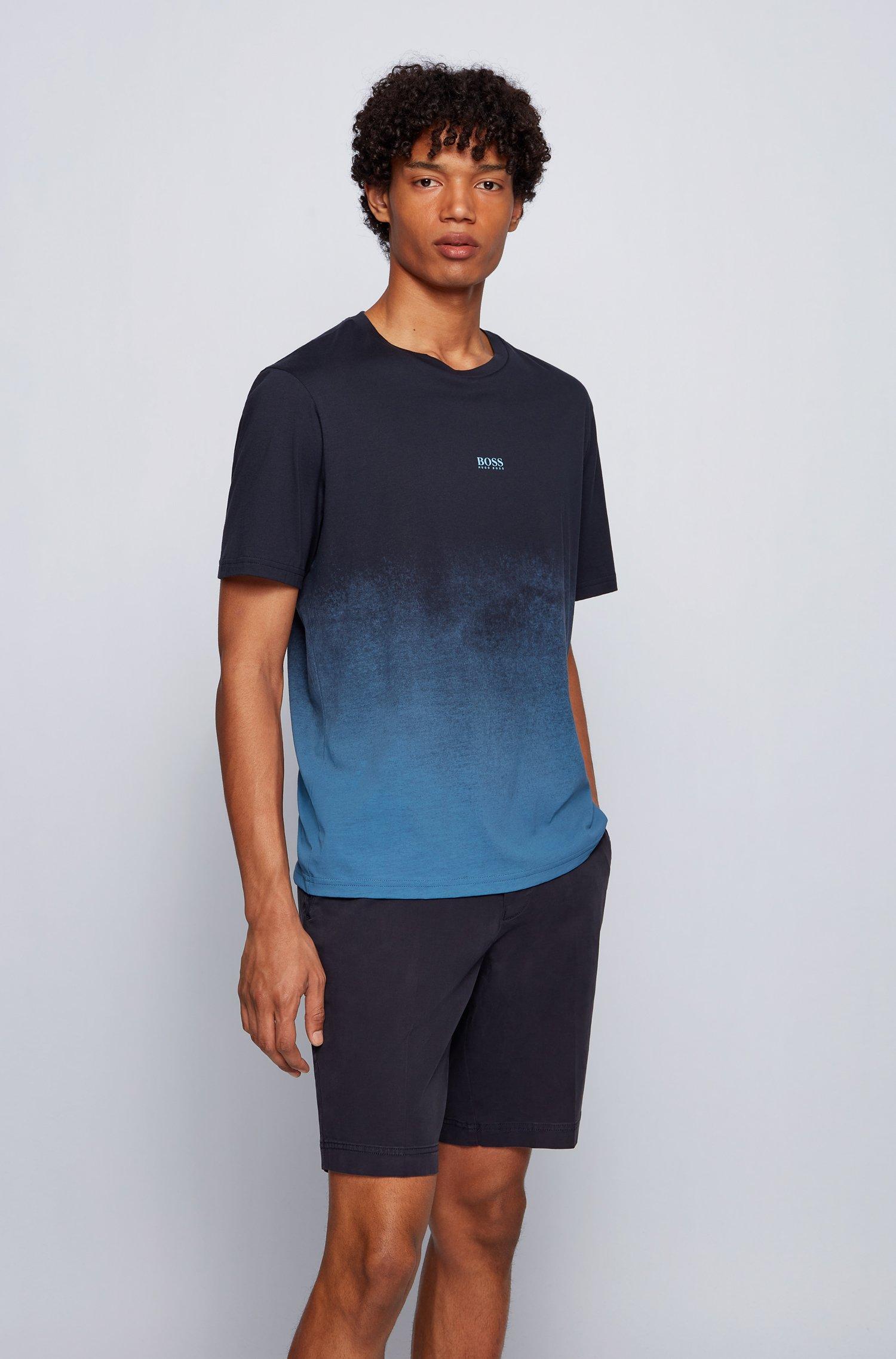 T-Shirt aus Pima-Baumwolle mit Logo und Dégradé-Print, Dunkelblau