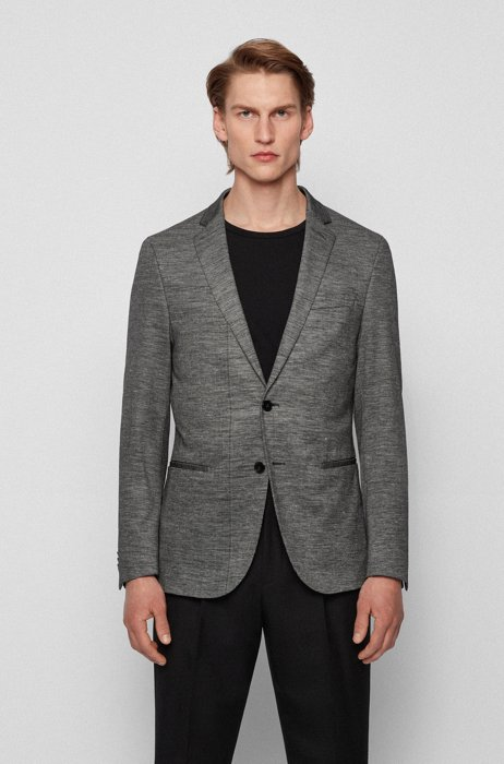 Slim-fit jersey jacket in patterned cotton and Ramie, Dark Grey