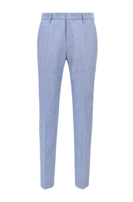 Slim-fit trousers in cotton and virgin wool, Light Blue
