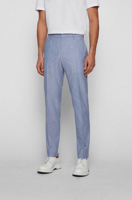 Slim-Fit Hose aus Baumwolle und Schurwolle, Hellblau