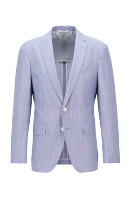 Slim-fit jacket in melange cotton and virgin wool , Light Blue