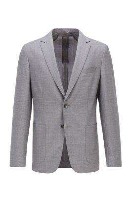 Slim-fit jacket in melange virgin wool, Light Grey