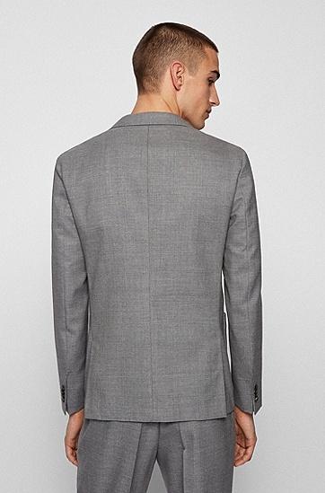 混色初剪羊毛修身夹克,  041_Silver