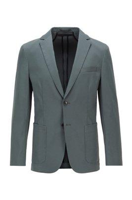 Veste Slim Fit en tissu lisse avec doublure partielle, Vert sombre