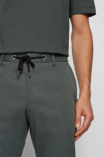 抽绳裤腰修身长裤,  301_Dark Green