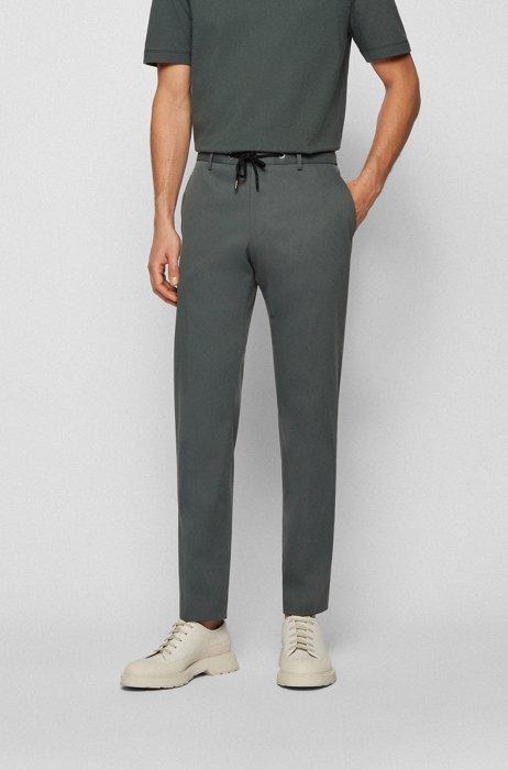 Slim-fit trousers with drawstring waist, Dark Green