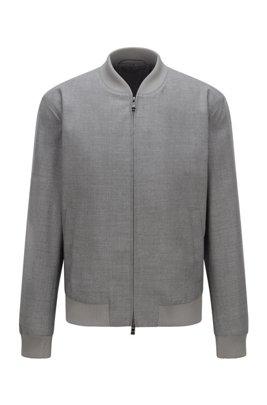Zip-up slim-fit jacket in melange virgin wool, Light Grey