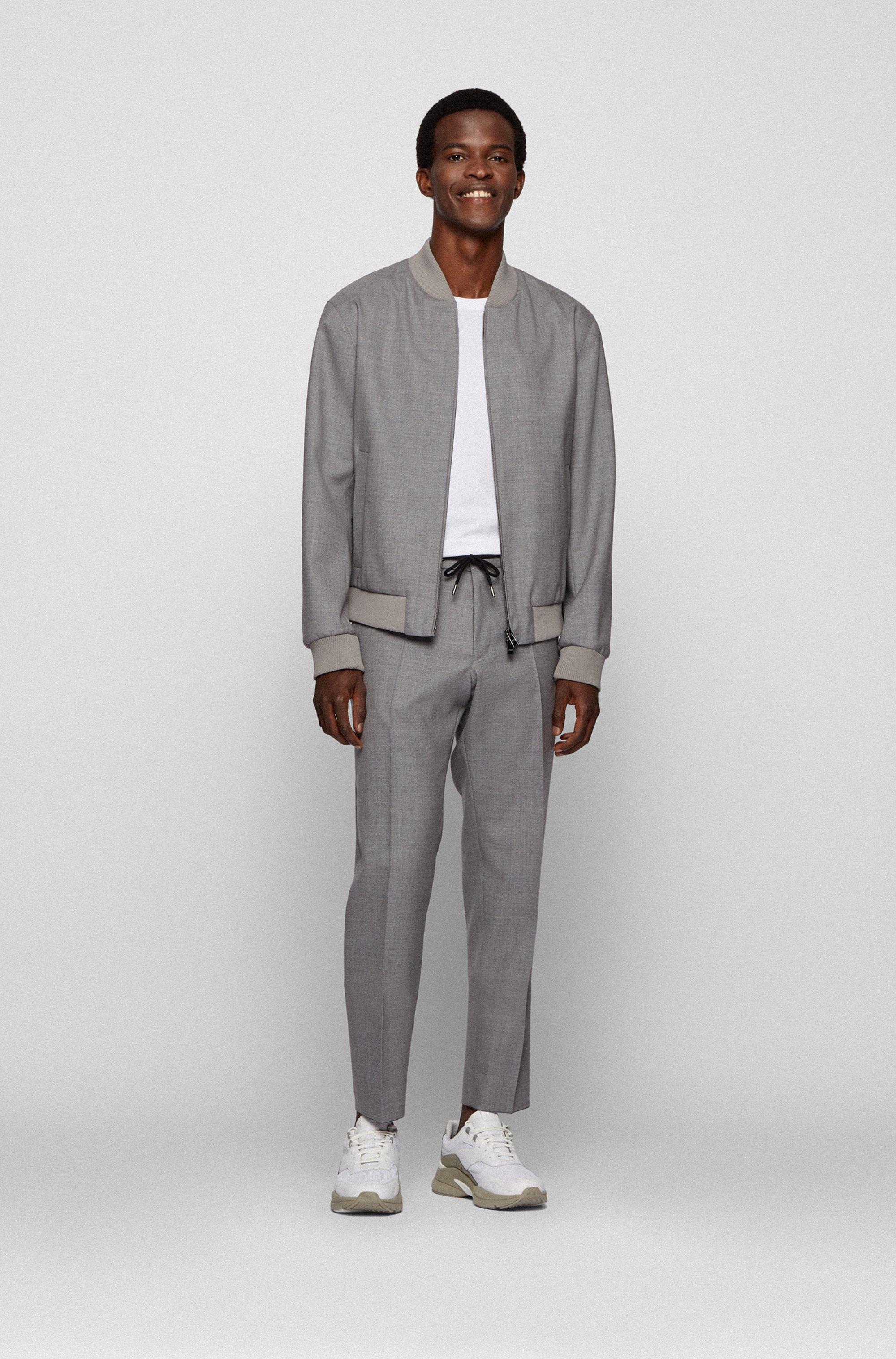 Zip-up slim-fit jacket in melange virgin wool
