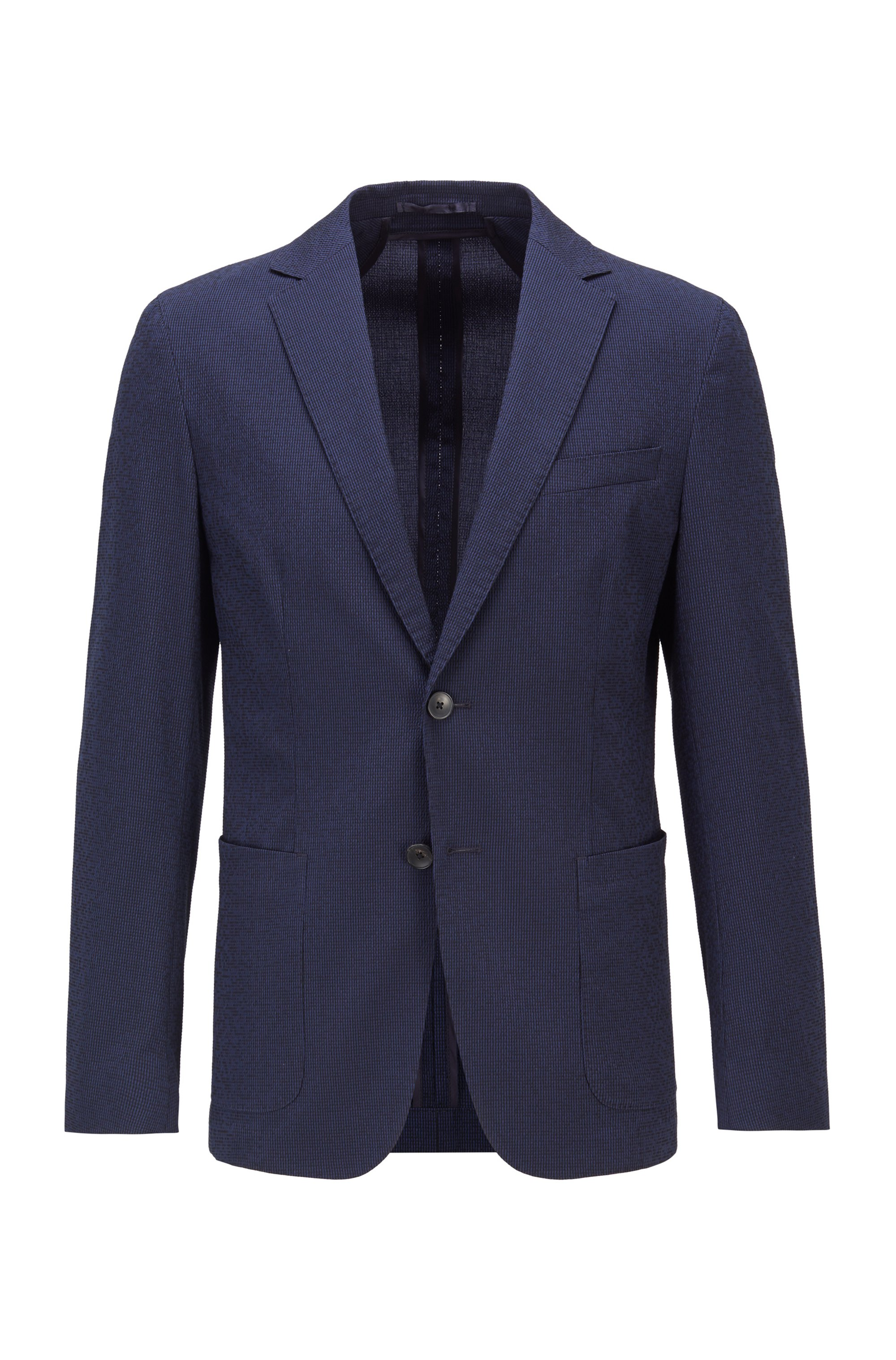 Slim-fit jacket in a cotton-blend seersucker, Dark Blue