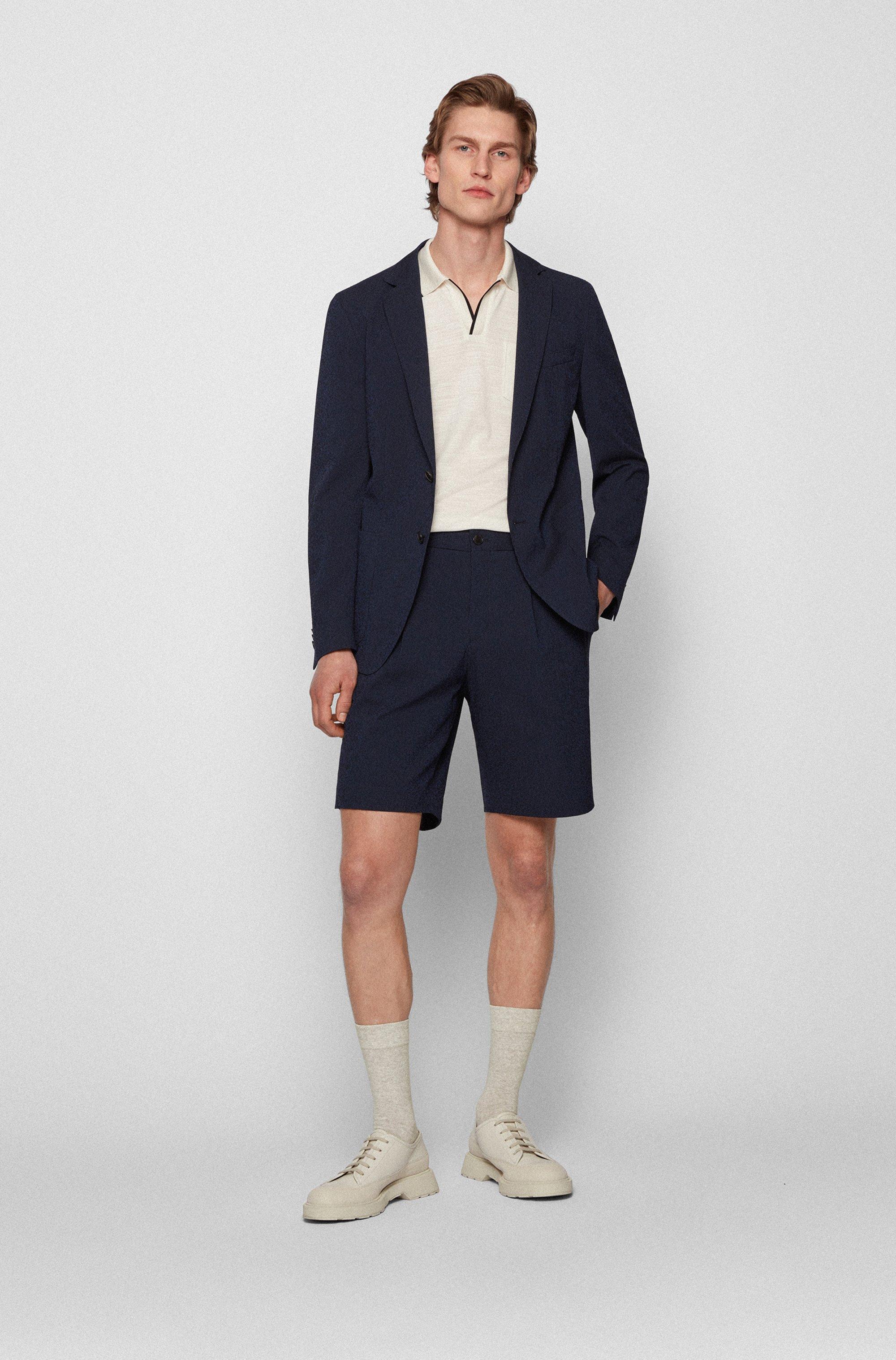 Slim-fit jacket in a cotton-blend seersucker