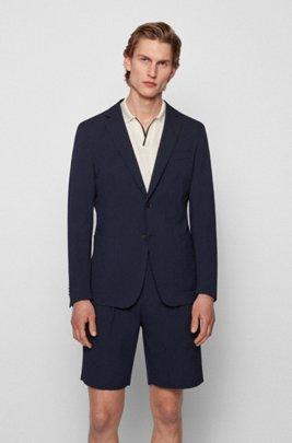 Slim-fit jacket in a cotton-blend seersucker, Dark Blue