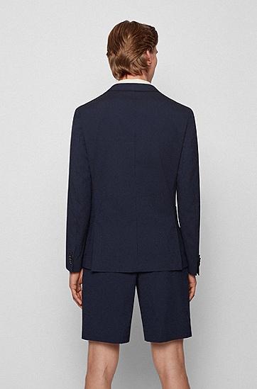 棉混纺泡泡纱修身夹克西服,  402_Dark Blue