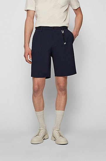 棉混纺泡泡布宽松短裤,  402_Dark Blue
