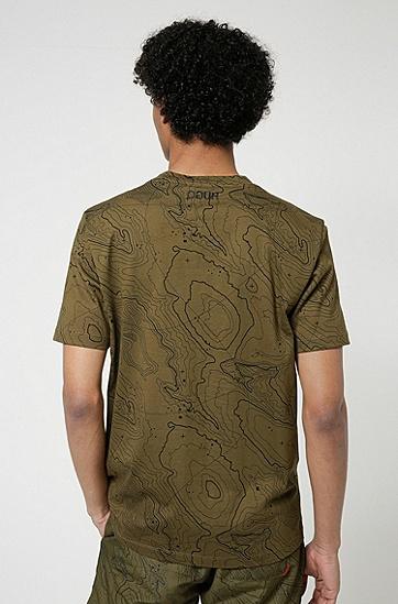 地形图印花常规版型棉质平纹针织 T 恤,  355_淡绿色