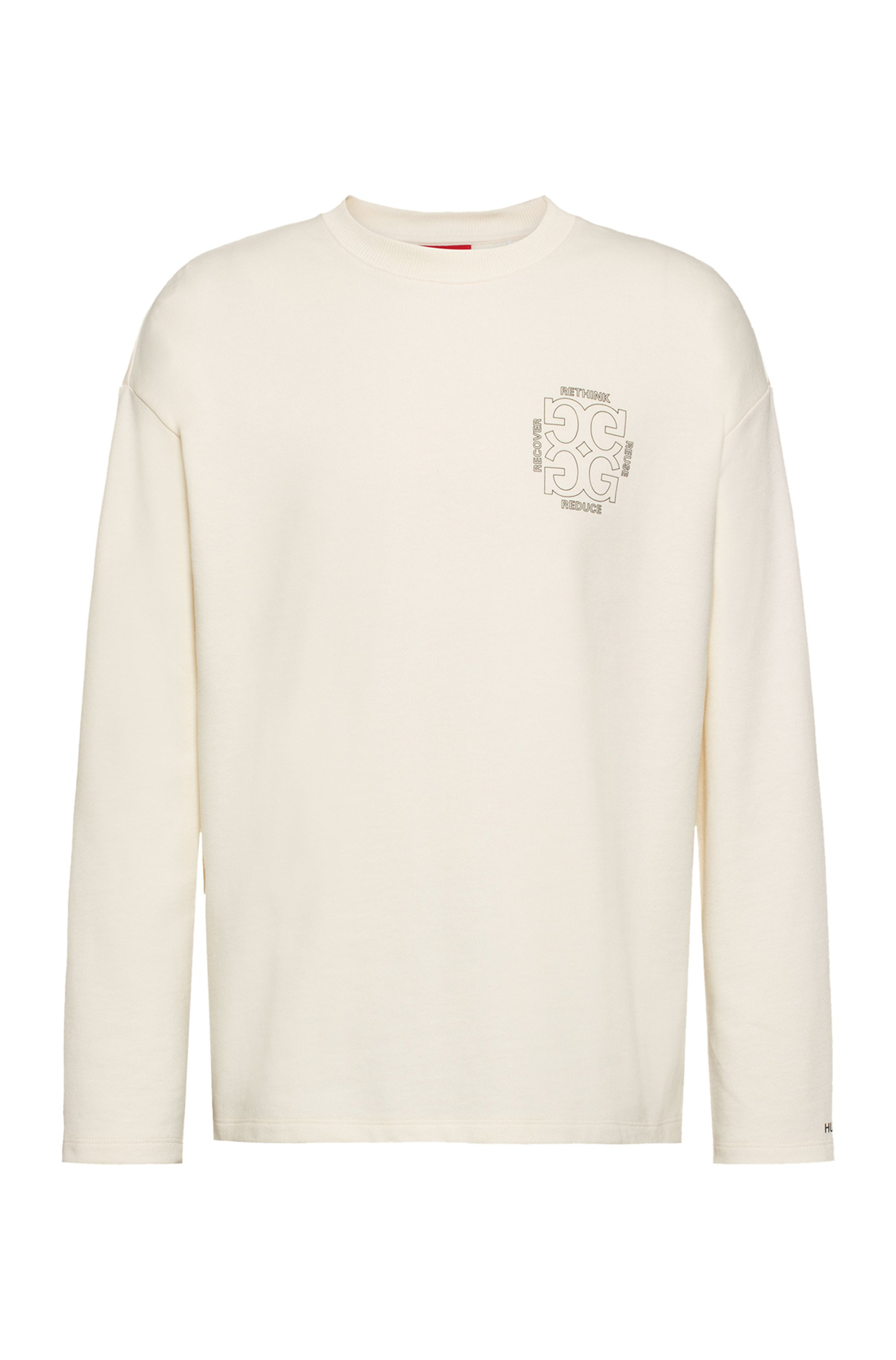 Sweat Regular Fit en coton recot²® avec motif artistique au dos, Blanc