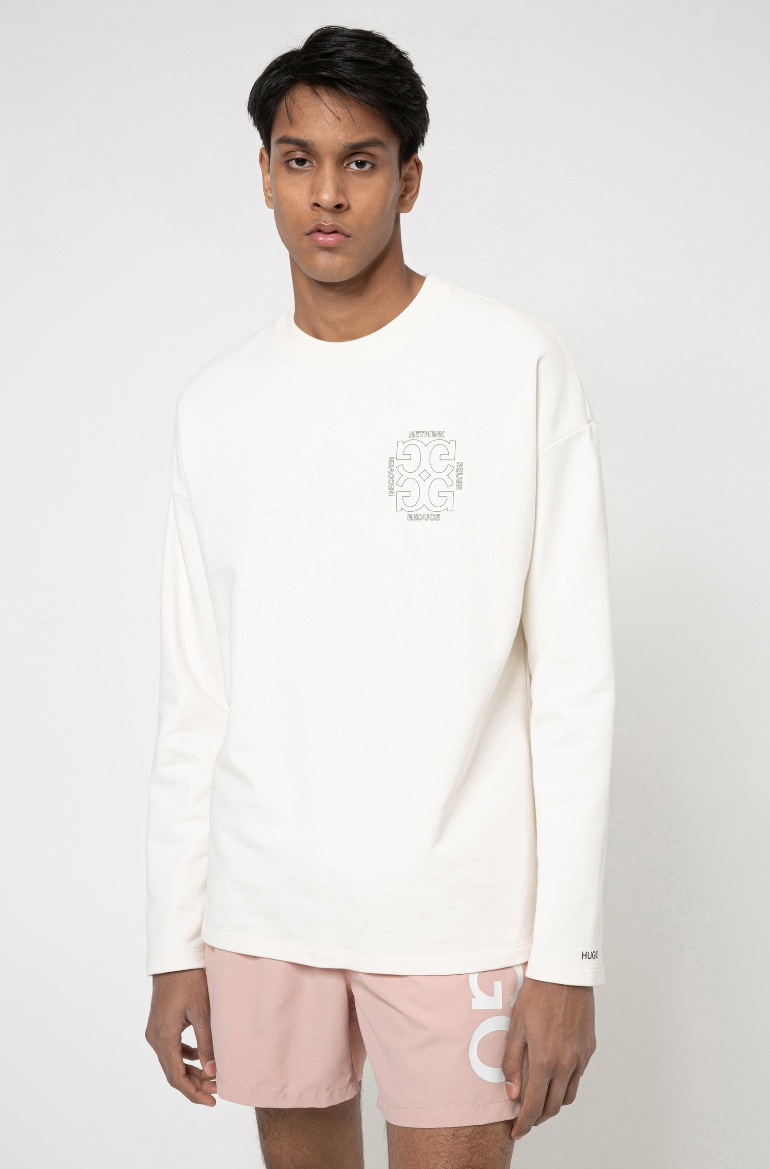 Regular-fit sweatshirt in Recot²® cotton with rear artwork, White