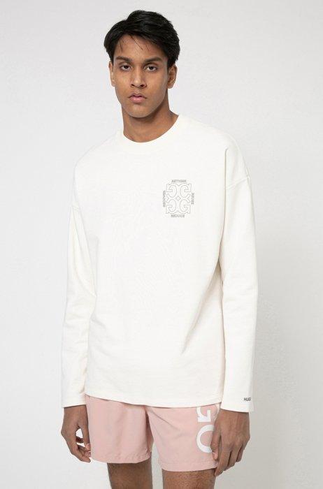 Felpa regular fit in cotone recot²® con motivo grafico sulla parte posteriore, Bianco