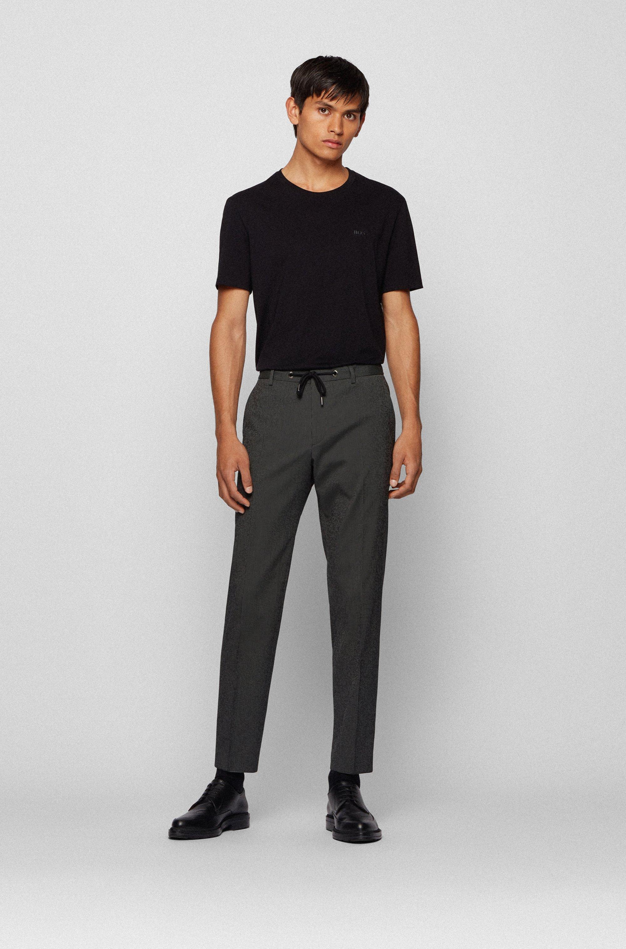 Slim-fit trousers in cotton-blend seersucker